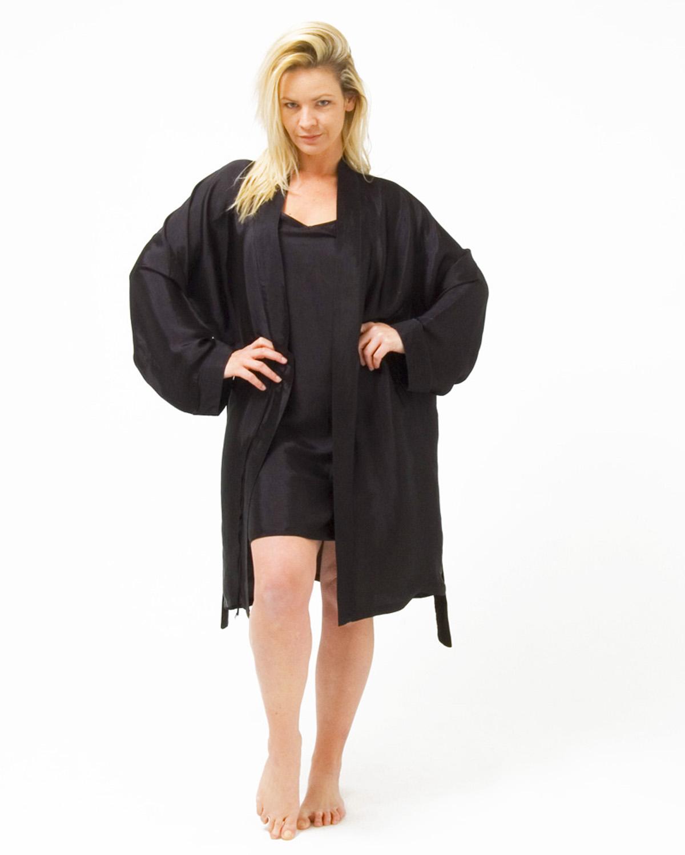 Silk Mix Knee Length Kimono and Short Nightie Set - Clothing and ...