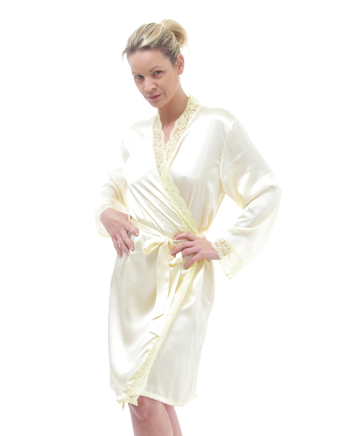 Lace Trimmed Short Silk Dressing Gown - Clothing and Accessories ...