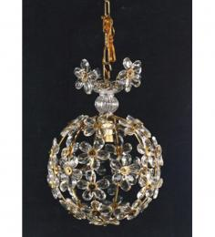 Elegant Floral Detailed 1 Light Ball Style With Murano Glass Chandelier
