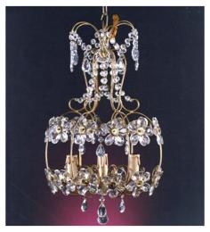 Floral Drum Style 3 Light Crystal With Murano Glass Chandelier