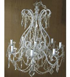 19th Century Crystal Drop Pristine 8 Light With Murano Glass Chandelier