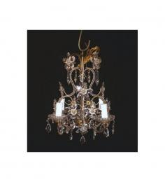 Antique Floral Crystal 4 Light With Murano Glass Chandelier