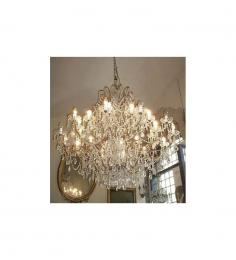 Antique Crystal Drop 24 Light With Murano Glass Chandelier