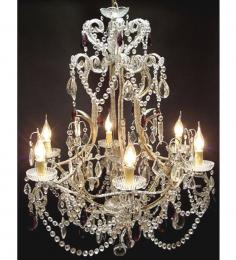Antique Elegant Coloured Crystal Drop 6 Light With Murano Glass or Swarovski Crystal Chandelier