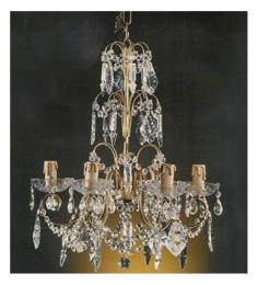 Antique 6 Light Chandelier With Multiple Crystal Drop With Murano Glass Drop Areas