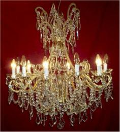 Antique Crystal Drop 12 Light Elegant With Murano Glass Chandelier