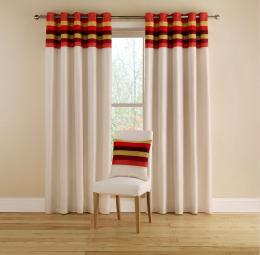 Pair of Montgomery Tropical Stripe Eyelet Curtains