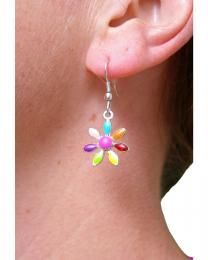 Pair of Multi Colour Daisy Drop Earrings