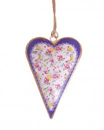 Floral Design Hanging Heart Decoration with Border
